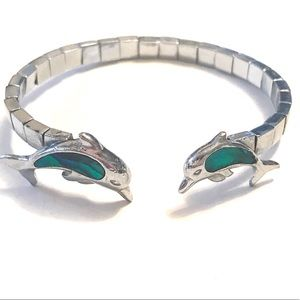 5 For $15 Silver And Abalone Dolphin Bracelet